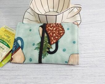 Tea wallet - Travel tea bag case - tea caddie - wallet for teabags - 4 pockets