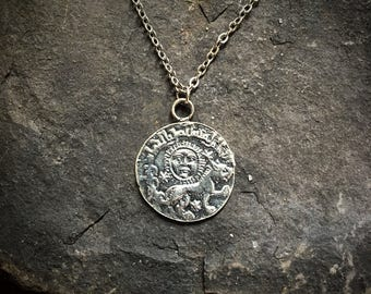 Ancient Coin Necklace, Old Coin Amulet Necklace