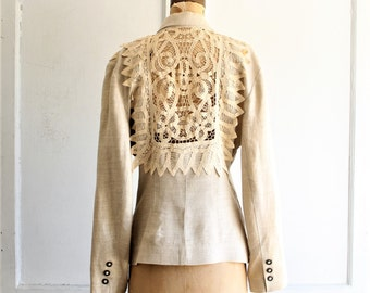 vintage linen & lace jacket 80s | made in USA by Tina Hagen small