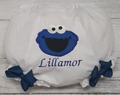 Cookie Monster Personalized Diaper Cover Bloomers W BOUTIQUE BOWS