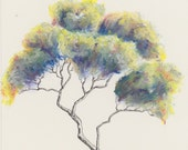 Original tree painting ~ oil pastel and ink; A4 paper