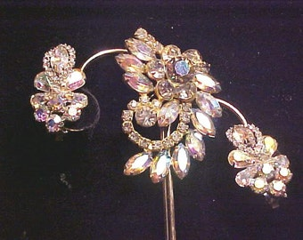 Vintage WEISS Rhinestone Aurora Earrings CLIMBERS/ Pin WINTER Frost Fab!