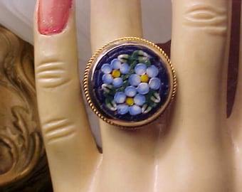 Vintage MOSAIC Glass RING Beautiful Blue/BARGAIN