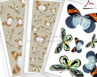 Butterfly Cutouts and Pattern Paper Digital Download Set