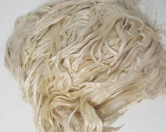 "Suri Alpaca Locks, 6"" Natural White Locks, White Doll Hair, Twisted Suri Alpaca Locks, Wig Making, Boomer"