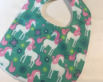 Unicorns - Infant or Toddler Bib - Terry Cloth Backing - Reversible with ADJUSTABLE Snaps