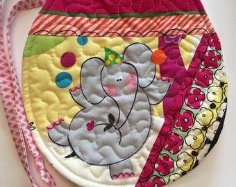 Baby bib, bibs, quilted bib, tie bib, elephant bib, reversible bib, patchwork bib, boy bib, girl bib, baby shower gift
