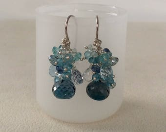 Blue Topaz Gemstone Earrings in Sterling Silver with London Blue Topaz, Sky Blue Topaz, Natural Topaz, Aquamarine, Apatite - Something Blue