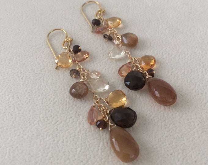 Semiprecious Gemstone Earrings in Gold Vermeil with Smoky Quartz, Golden Moonstone, Golden Citrine,  Topaz, Zircon, Tourmaline, Sunstone