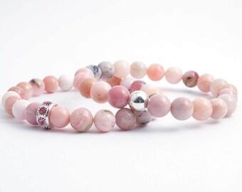 Peruvian Pink Opal Bracelet - Pink Opal Bracelet - Opal Layering Bracelet - Opal Stacking Bracelet - Yoga - Meditation - Healing Crystals