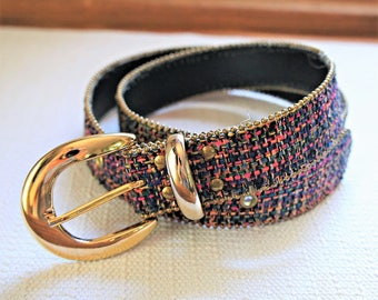 Vintage Belt Fabric Weave Multicolor Goldtone Hardware 1980's Belt Size Medium
