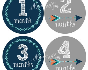FREE GIFT, Tribal Monthly Baby Boy Stickers, Baby Month Stickers, Milestone Stickers, Arrows, Tribal Nursery Decor, Navy Blue, Gray, White
