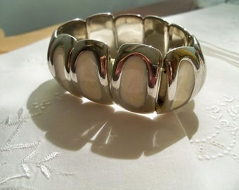 stretchy chunk vintage reversible bracelet cream and silver tone