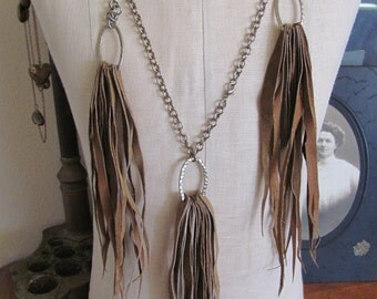 Beautiful Brown Soft Leather Fringe Style Necklace and Earring Set (#1A)