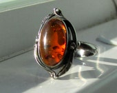 Size 7 Sterling Silver Native American Style Amber Ring
