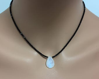 Black Spinel Necklace with Rainbow Moonstone Briolette
