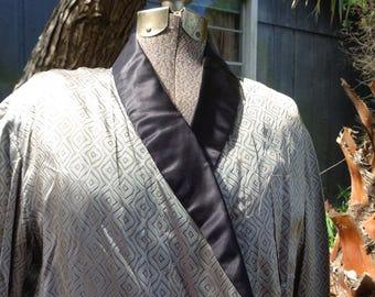 Smoking Jacket Loungewear Vintage 50s 60s Silver black Rayon Costume Small