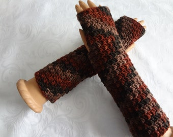 Crochet Finger Less Black, Brown, Tan,Rust, Brick  Arm Warmers, Finger less Gloves, Fingerless Winter, Warm