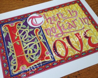 There is no fear in love - print of watercolor and pen illumination