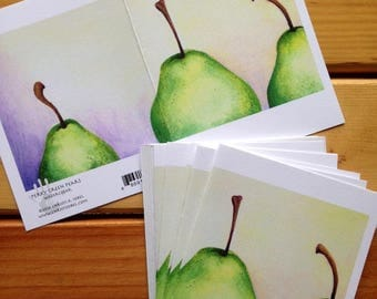 6 blank cards - Perky Green Pears