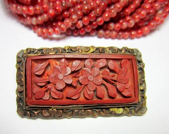 Antique carved cinnabar brooch Chinese export art deco jewelry estate pin cinnabar floral vintage jewelry (SB3)