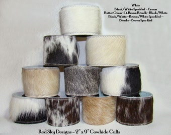 Pick Your Colors of Cowhide Cuffs -  Neutral AND Wild Cowhide - Leather Supply - Leather Cuffs - Leather Jewelry - - Cowhide Bracelet