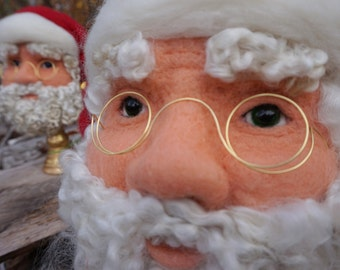 Needle felted Santa Claus Bust Needlefelted Soft Sculpture Christmas by Bella McBride