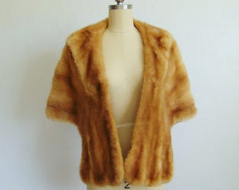 50s blonde MINK STOLE by Jordan Marsh excellent condition size medium