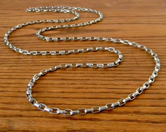 Vintage Extra Long Silver Tone Chain Necklace