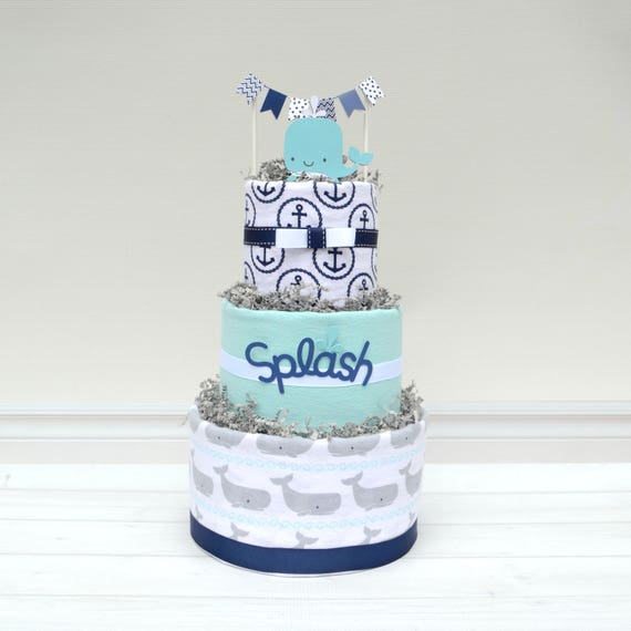 "Whale ""Splash"" Baby Cake"