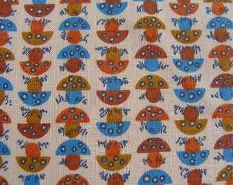 "Vintage Novelty Kitchen Calico Mushroom Cotton Fabric ~ Fruit of The Loom ~ 38""w x 19"""