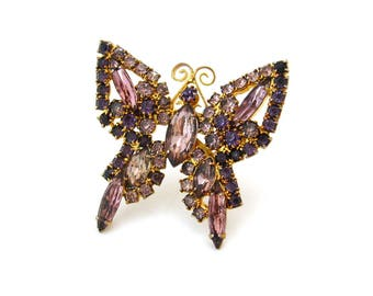 Purple Rhinestone Butterfly Brooch • Unsigned Insect Figural Pin • Vintage 1960s Jewelry