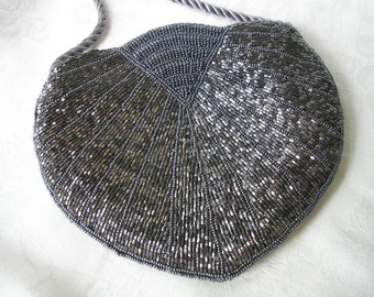 Silver Beaded Purse, Evening Bag, Vintage Clutch, Shoulder Bag, Cocktail, Bugle Beads, Seed Bead, Deco, Gatsby, Prom, Party, Gray Bag, 1920s