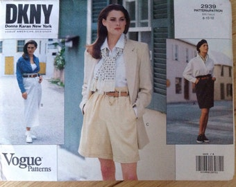Uncut Vogue American Designer 2939 DKNY Shorts and Skirt - size 8-10-12
