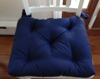 Set of 4 Custom made chair cushions, sizes made to order, navy blue cotton canvas, red cushion, natural, white, grey,