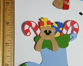 Adorable Stuffed Christmas Stocking for Card Making, Scrapbooking, Altered Art, Scrap Journaling Christmas Projects or Gift Tags