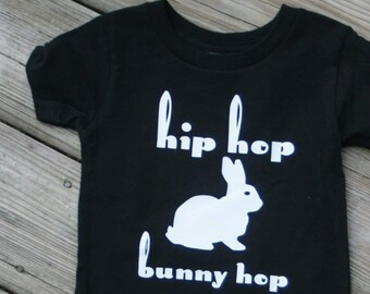Easter Shirt, Toddler, Baby, Kids, Hip Hop Bunny Hop, Easter Rabbit, Easter Bunny, Hipster Shirt, Monochromatic, Black and White, Easter