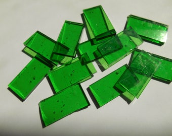 """50 Pieces 1/2"""" x 1"""" Green Cathedral  Stained Glass Mosaic Border Tiles Hand cut"""