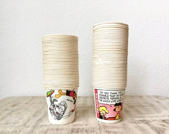 Vintage Collection Looney Tunes and Peanuts Paper Dixie Cups, Lot of 81 Pieces, 3 oz Cups