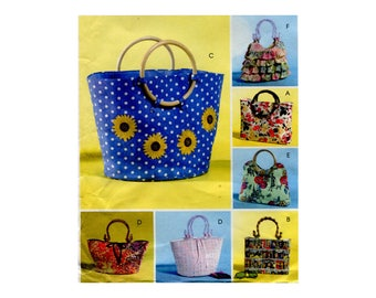 Fun Flirty Handbags Pattern Ruffles Rectangle Tapered Basket Tote Bags Handled Bags Purses Accessories McCalls 4885 One Size Sewing Pattern