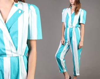 vintage TURQUOISE STRIPED teal JUMPSUIT avant garde high waist pants one piece 80s 1980s small medium S M