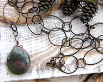 Wire Wrapped Moss Stone Pendant on Chain