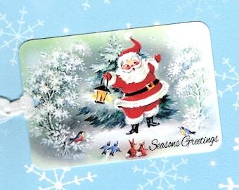 Santa, Christmas Gift Tags, Santa Tags, Seasons Greetings, Gift Tags, Retro