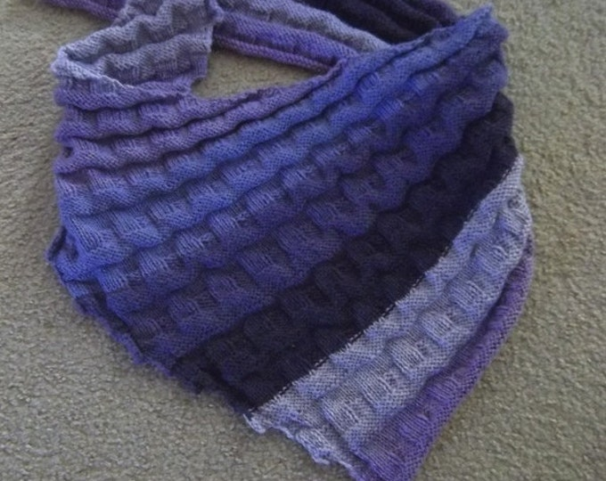 "Shawl ""Beatrice"" - Handknitted Triangle Shawl in Self-Striping Colors of several purples"