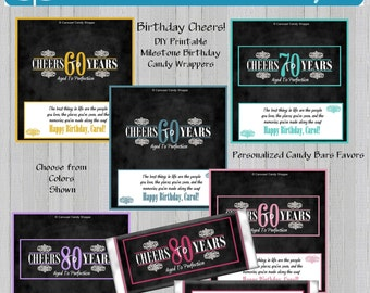 Printable DIY Milestone Birthday Candy Bar Wrappers Party Favors