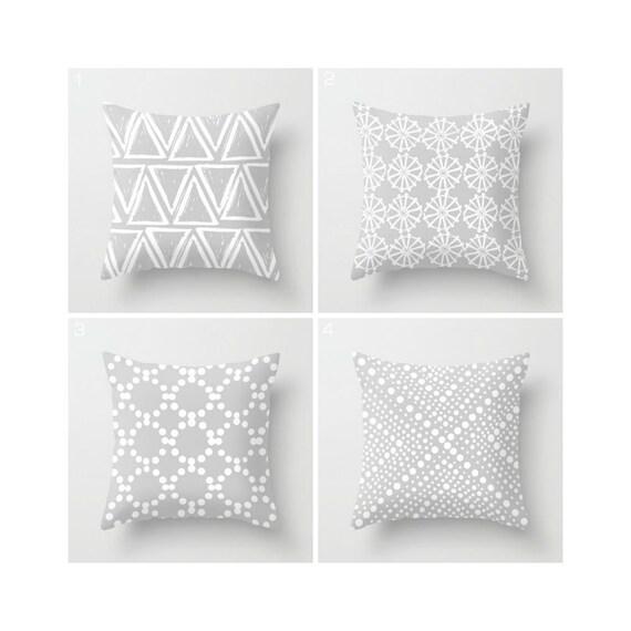 Silver Grey Throw Pillow - Cushion - Modern Throw Pillow - Geometric Throw Pillow - White - Throw Pillow 16 18 20 24 inch
