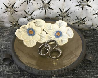Ceramic Wedding Ring Bowl, with Poppies in Olive Green and Brown Stoneware Clay