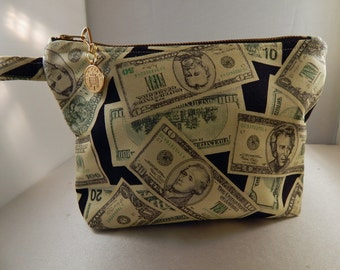 Money Print Coin Charm METAL Zipper Makeup Bag Cosmetic Travel Bag Organizer Bag Cute