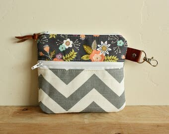 Floral zippy pouch with double zipper/ Key clip/ grey chevron--Leather trim- Ready to Ship--