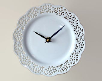 Small Lacy White Wall Clock -  Porcelain Plate Clock - Unique Wall Clock - Minimalist Wall Decor - 2316